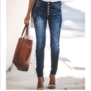 Denim - High Waisted Button Front Skinny Jeans